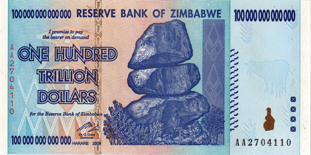Zimbabwe's 100 trillion dollar bill that's 100,000,000,000,000