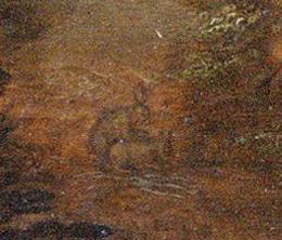 Whoa! Those 2 bunnies are doing it like rabbits! detail of a Dutch Militia painting Officieren van de Oude Schutterij in een landschap (Officers of the Old Militia in a landscape) by Claes Jacobsz. van der Heck, circa 1613