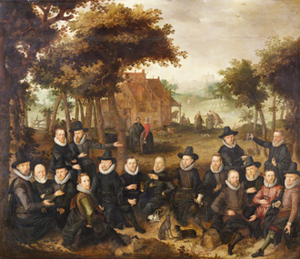 Officieren van de Oude Schutterij in een landschap (Officers of the Old Militia in a landscape) by Claes Jacobsz. van der Heck, circa 1613