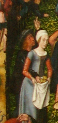 detail of the Archer's Feast by the Master of Frankfurt showing a man pointing to distract the person he is stealing from