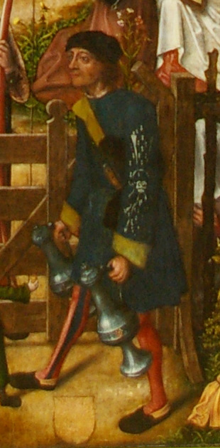 detail of the Archer's Feast by the Master of Frankfurt showing a member of the militia with an insignia on his arm carry a drink