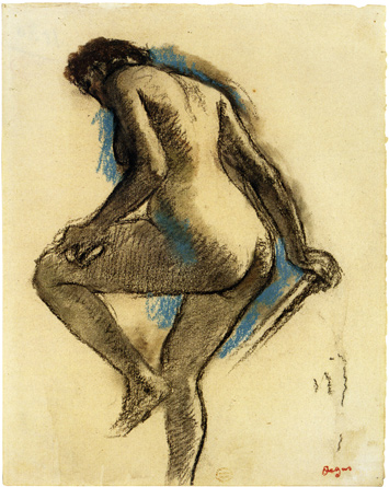 Standing Bather by Edgar Degas, c1883-4, 12 1/8 x 9 3/8 in charcoal, pastel, watercolor