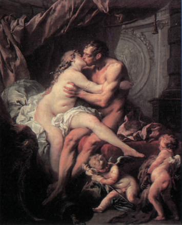Hercules and Omphale getting frisky by François Boucher circa 1724