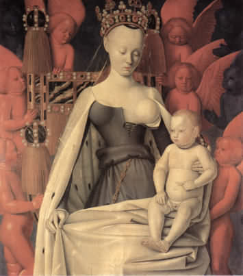 Jean Fouquet's Virgin and Child, right half of Melun Diptych, a painting from circa 1450