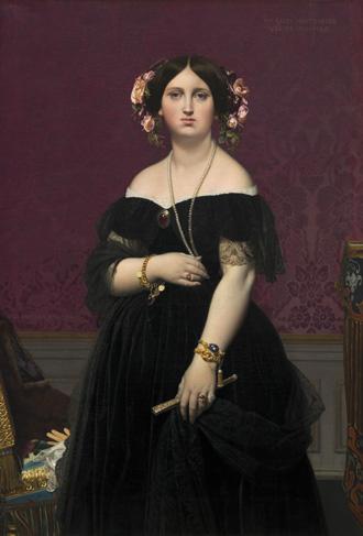 Standing Portrait of Madame Paul-Sigisbert Moitessier, née Marie Clotilde Inès de Foucauld by Jean Auguste Dominique Ingres, 1851 – 'terrible et belle tête' doesn't mean terrible and beautiful tits.