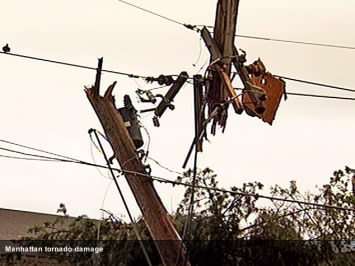tornado damaged telephone pole in Manhattan, KS