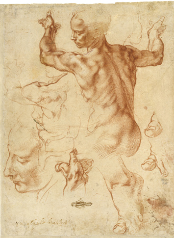 Studies For The Libyan Sibyl of the Sistine Chapel by Michelangelo