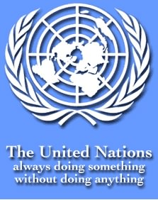 United Nations logo with an accurate slogan - The United Nations always doing something without doing anything