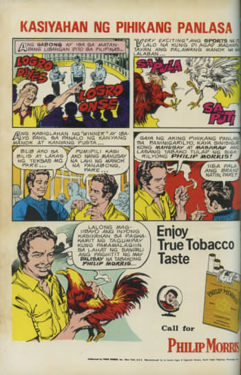 Filipino Philip Morris cigarette cockfight advertisment