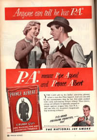 Prince Albert tobacco Pipe Appeal advertisement from a 1940s magazine