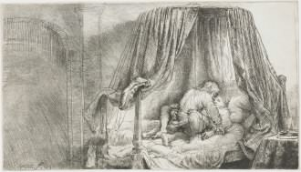 Rembrandt's etching Ledikant