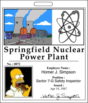 Homer Simpson Springfield Nuclear Power Plant (SNPP) ID badge
