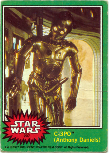 Star Wars card #207 C-3PO in an excited state
