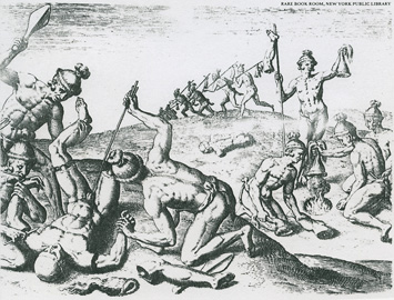 engraving by Theodore De Bry after a painting by Jacques le Moyne (who accompanied a French expedition to Florida in 1564) showing how the Timucua treated the enemy dead. Including breaking bones, severing limbs, shooting arrows into the corpses, and scalping and drying the scalps over a fire.