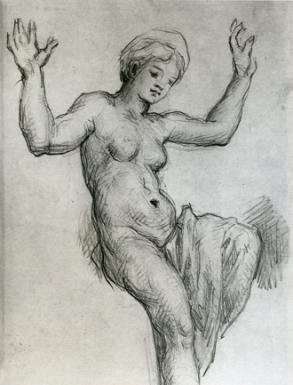 drawing copy after Raphael's Venus and Psyche by Paul Cézanne