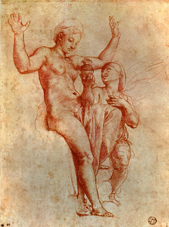 red chalk drawing of Venus and Psyche by Raphael, 1517-1518