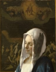 detail of Vermeer's Woman Holding a Balance showing a painting of a painting of someone's Last Judgement