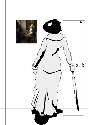 Vermeer's Woman Holding a Balance shown to give an idea of the scale of the painting