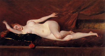 A Study in Curves (Reclining Nude) by William Merritt Chase, c1890