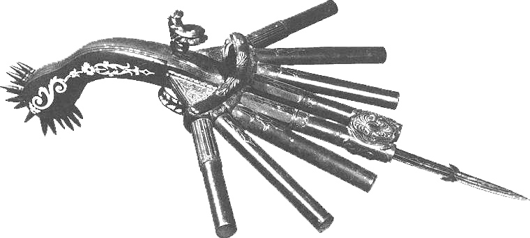 An 8 barreled duck foot gun with a mace like handle and a blade at front. All 8 barrels fired at once.