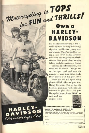 Harley-Davidson motorcycle ad from April 1947 issue of Popular Science (i think)
