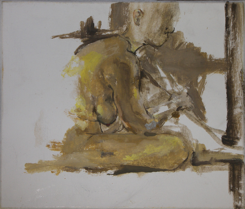painting of a nude woman sitting