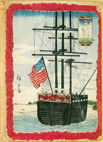 woodblock drawing by hiroshige of Perry's ship in Japan maybe the USS Saratoga