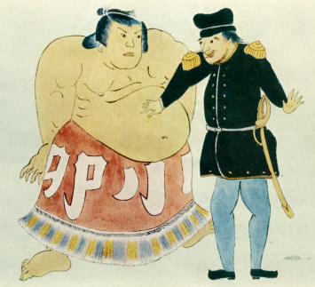 japanese drawing of sumo and sailor